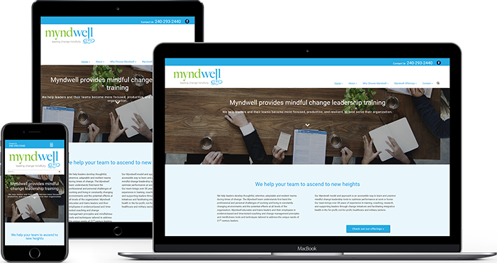 Myndwell mockup on 3 screens